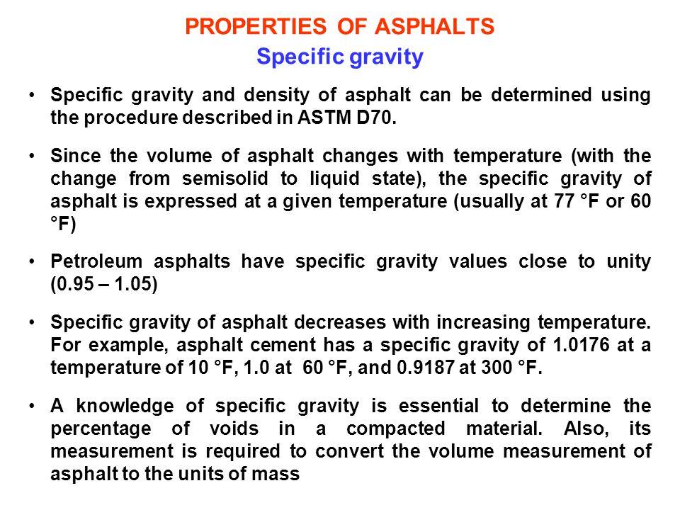 PROPERTIES OF ASPHALTS Specific gravity