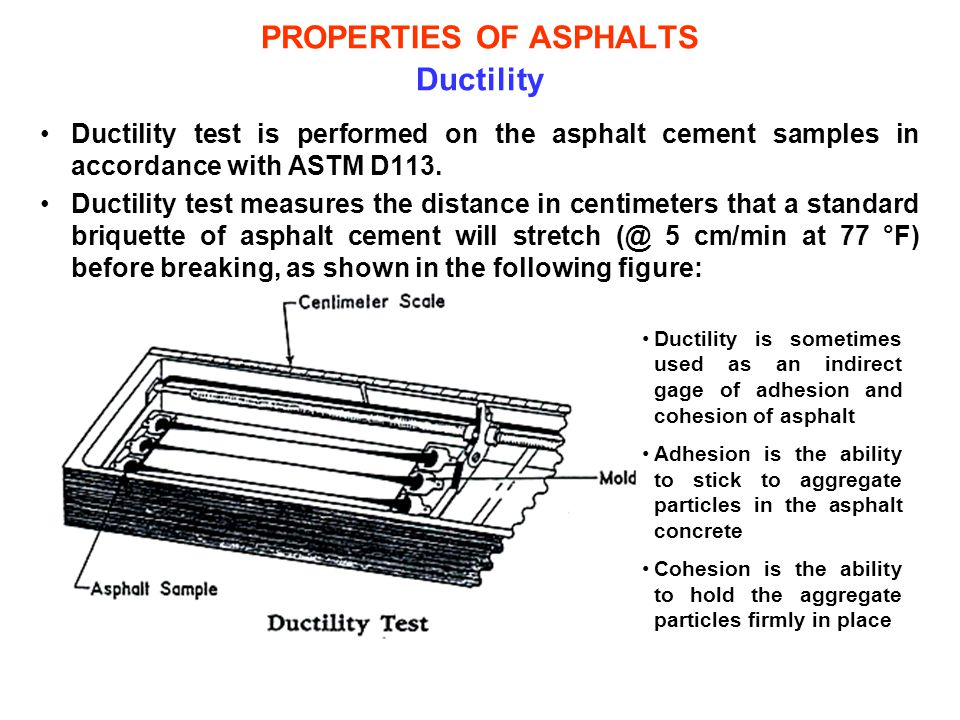 PROPERTIES OF ASPHALTS Ductility