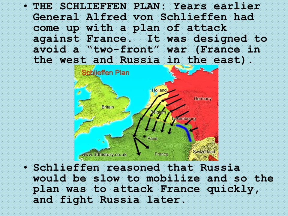 THE SCHLIEFFEN PLAN: Years earlier General Alfred von Schlieffen had come up with a plan of attack against France. It was designed to avoid a two-front war (France in the west and Russia in the east).