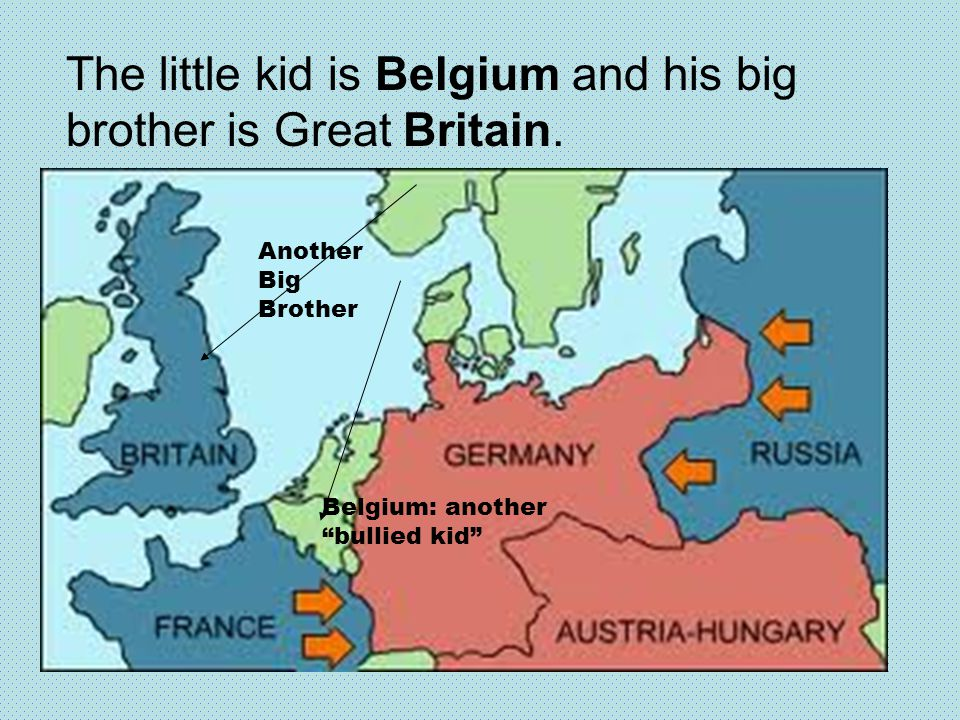 The little kid is Belgium and his big brother is Great Britain.