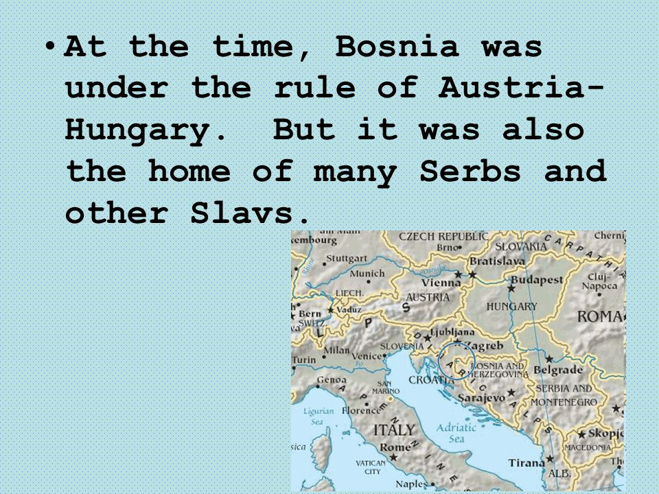 At the time, Bosnia was under the rule of Austria-Hungary