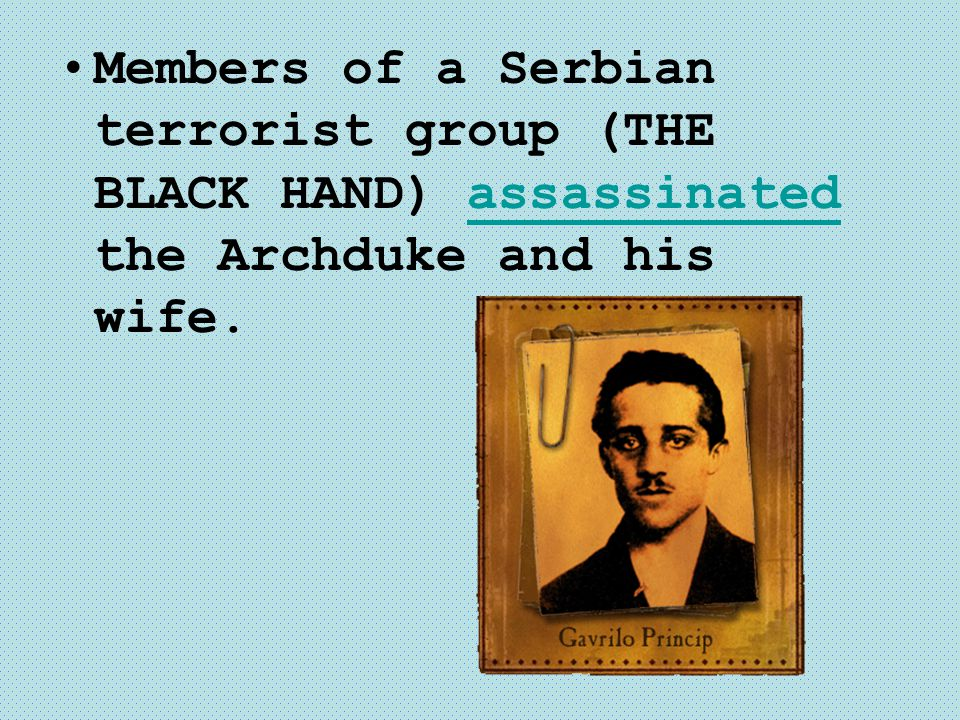 Members of a Serbian terrorist group (THE BLACK HAND) assassinated the Archduke and his wife.