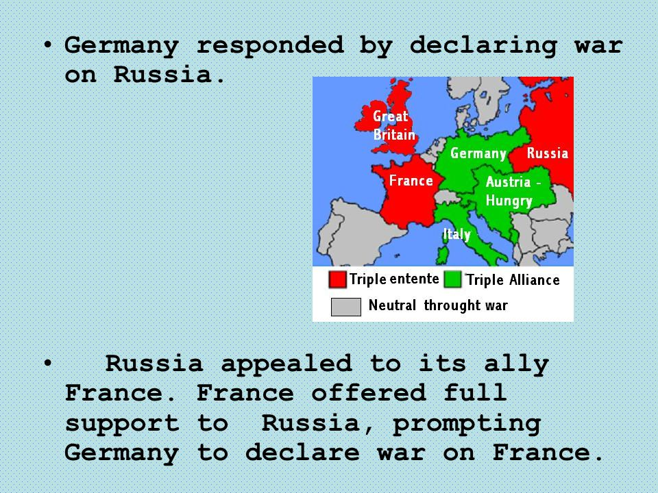 Germany responded by declaring war on Russia.