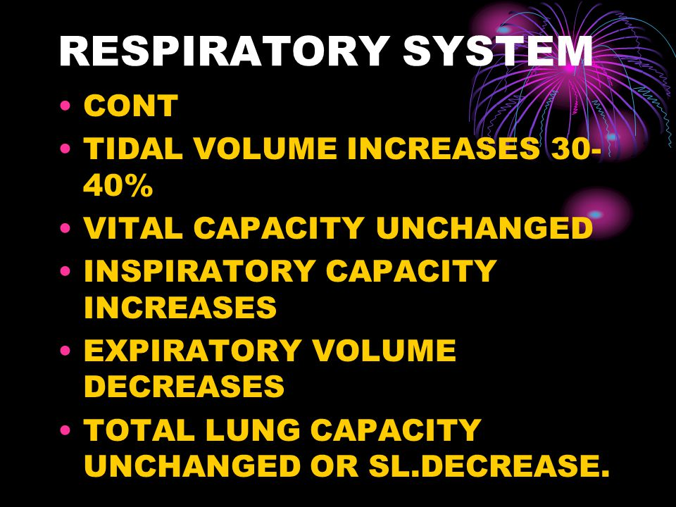 RESPIRATORY SYSTEM CONT TIDAL VOLUME INCREASES 30-40%