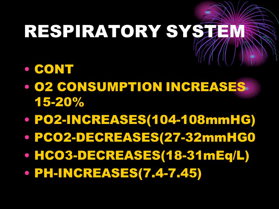 RESPIRATORY SYSTEM CONT O2 CONSUMPTION INCREASES 15-20%