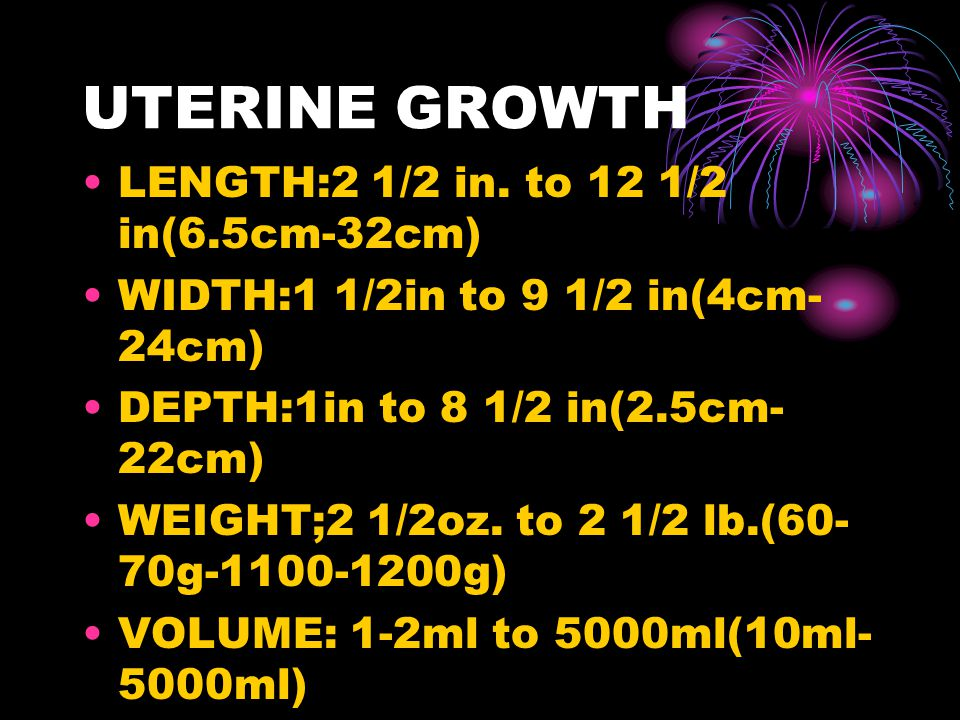 UTERINE GROWTH LENGTH:2 1/2 in. to 12 1/2 in(6.5cm-32cm)