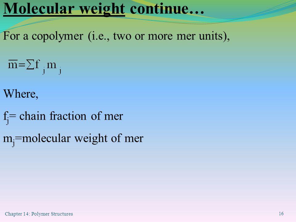 Molecular weight continue…