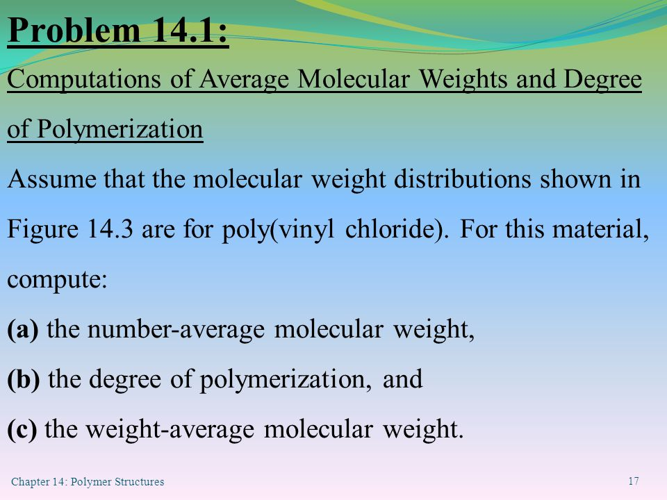 Problem 14.1: Computations of Average Molecular Weights and Degree of Polymerization.