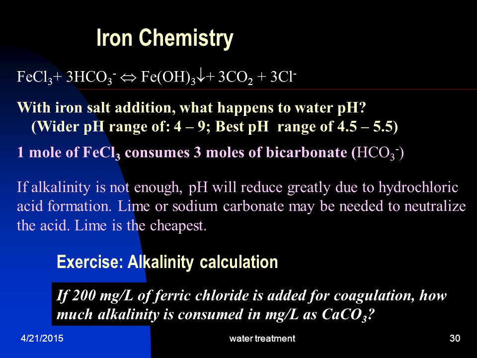 Iron Chemistry Exercise: Alkalinity calculation