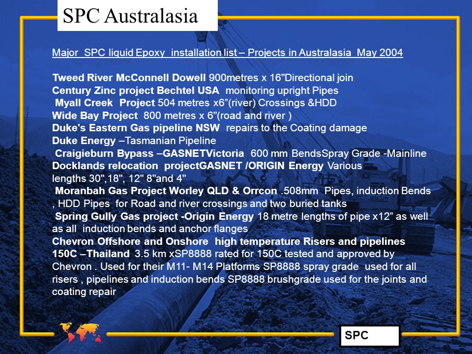 Major SPC liquid Epoxy installation list – Projects in Australasia May 2004