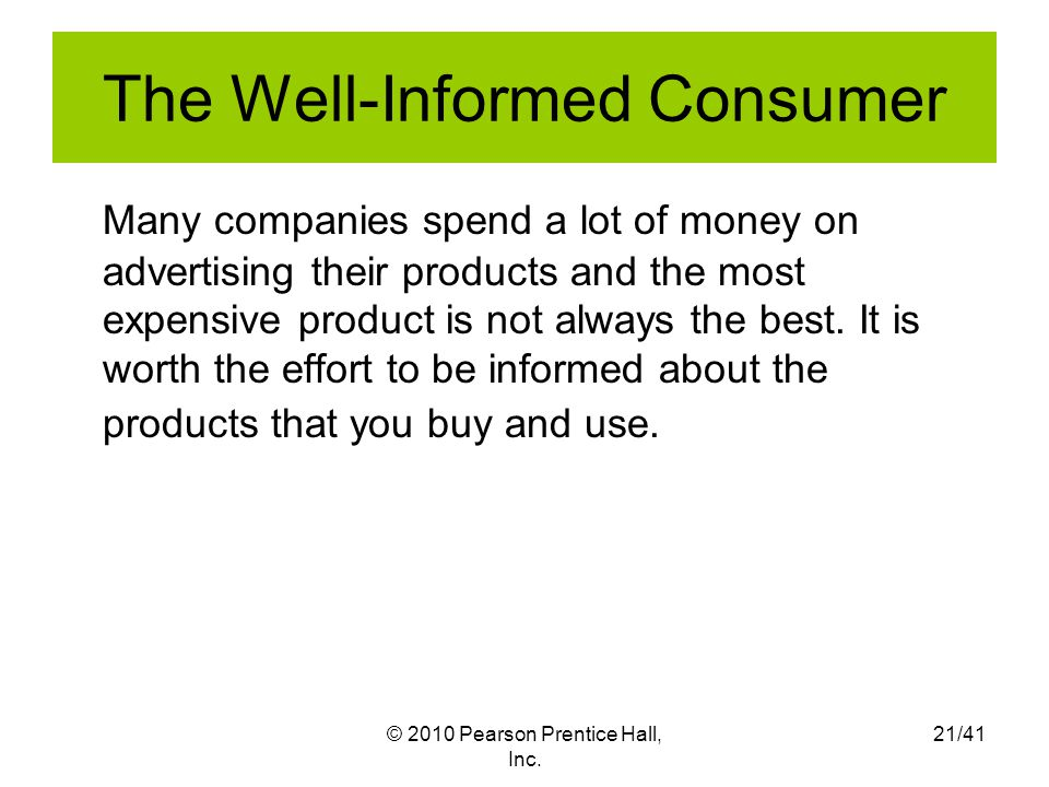The Well-Informed Consumer