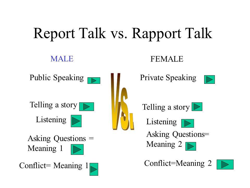 Report Talk vs. Rapport Talk