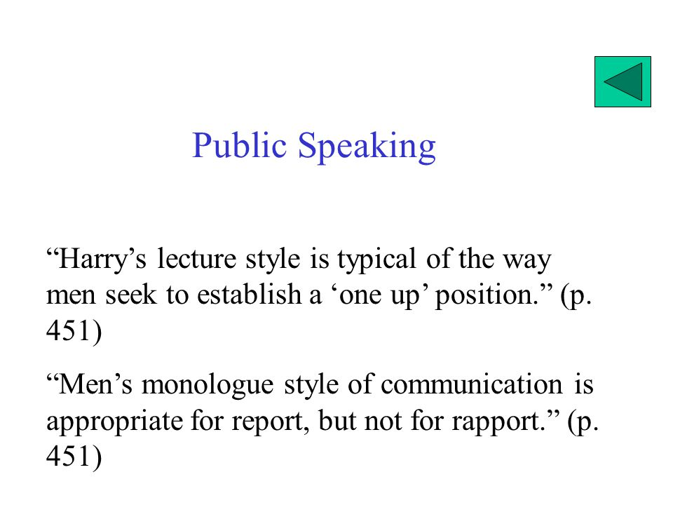 Public Speaking Harry's lecture style is typical of the way men seek to establish a 'one up' position. (p. 451)
