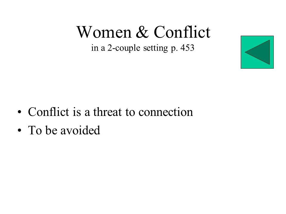 Women & Conflict in a 2-couple setting p. 453