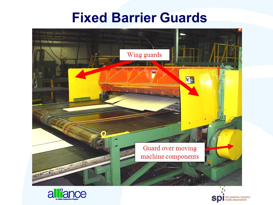 Guard over moving machine components