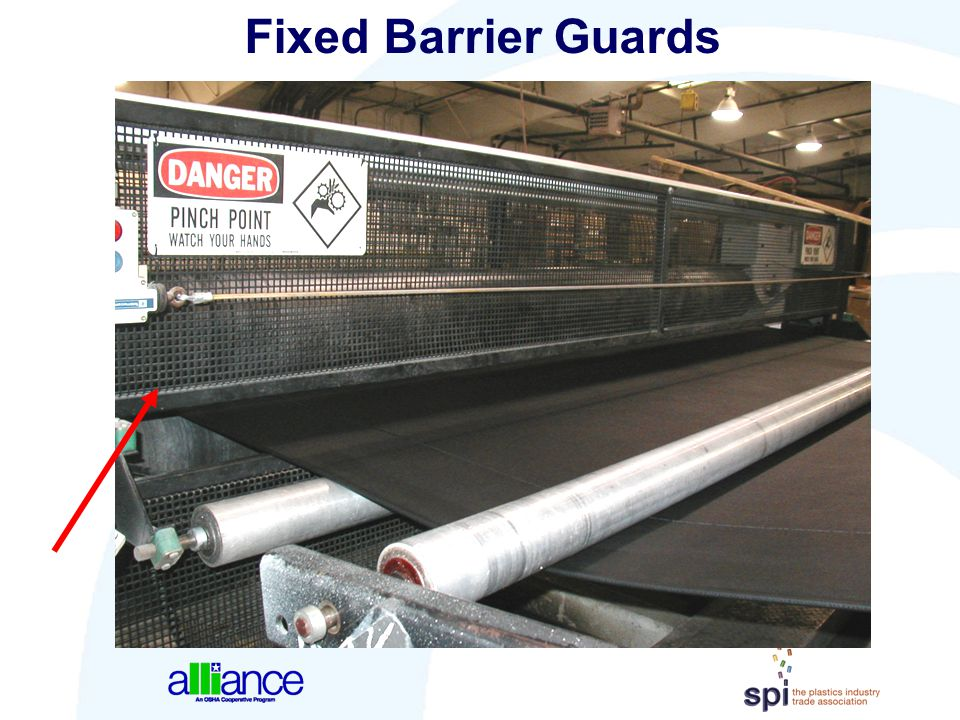 Fixed Barrier Guards This is a picture of a pull-roll nip barrier guard.