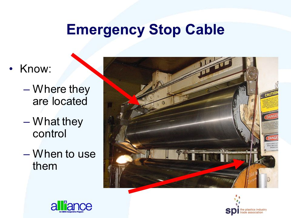 Emergency Stop Cable Know: Where they are located What they control