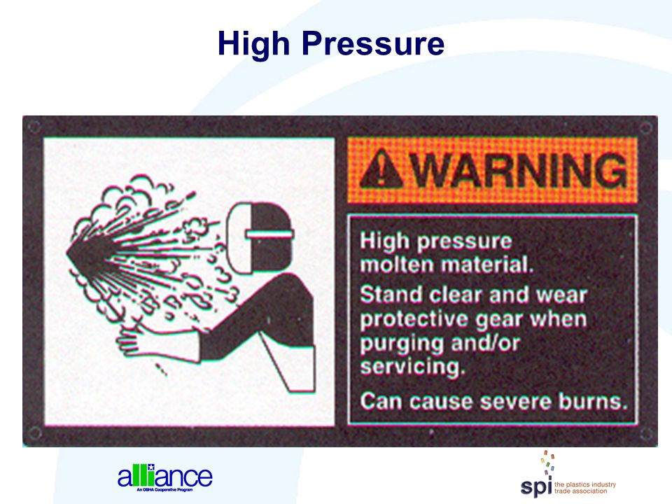 High Pressure Graphics can give examples of the part of the body that is most likely to receive an injury from the hazard.