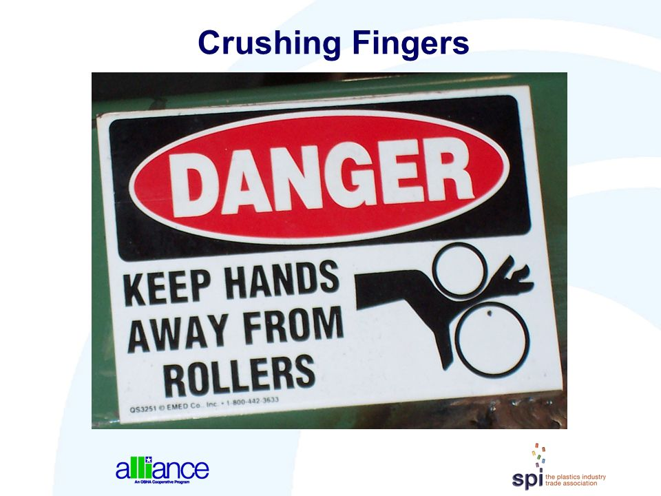 Crushing Fingers Graphics can give examples of the part of the body that is most likely to receive an injury from the hazard.