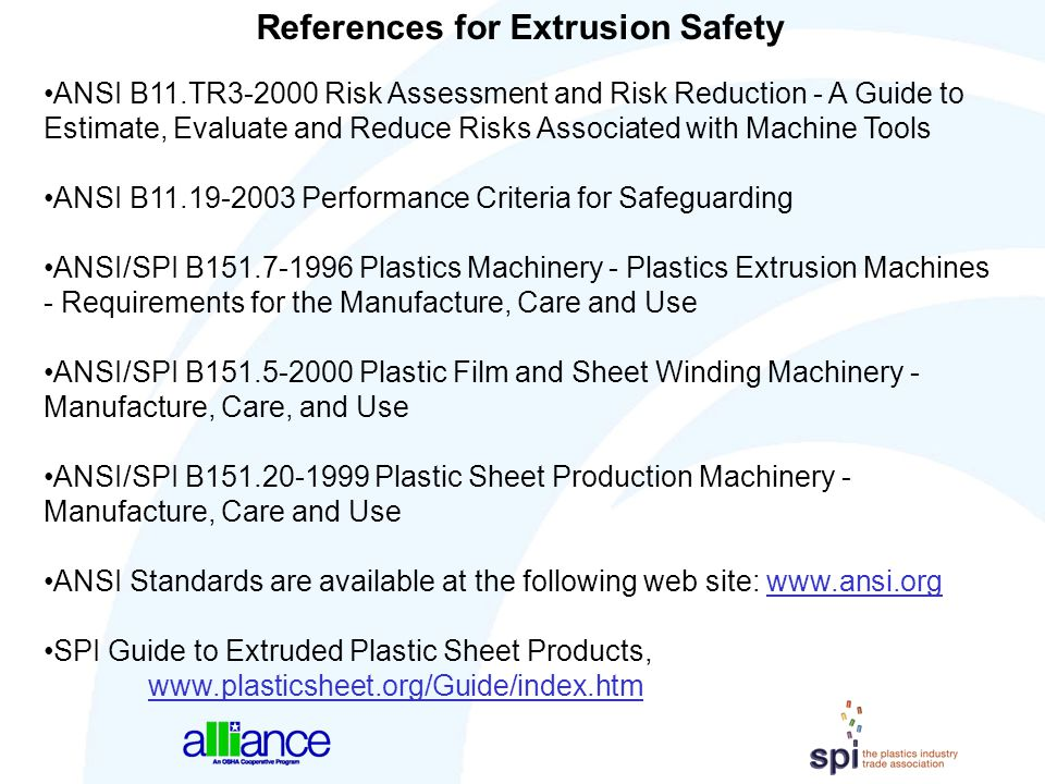 References for Extrusion Safety