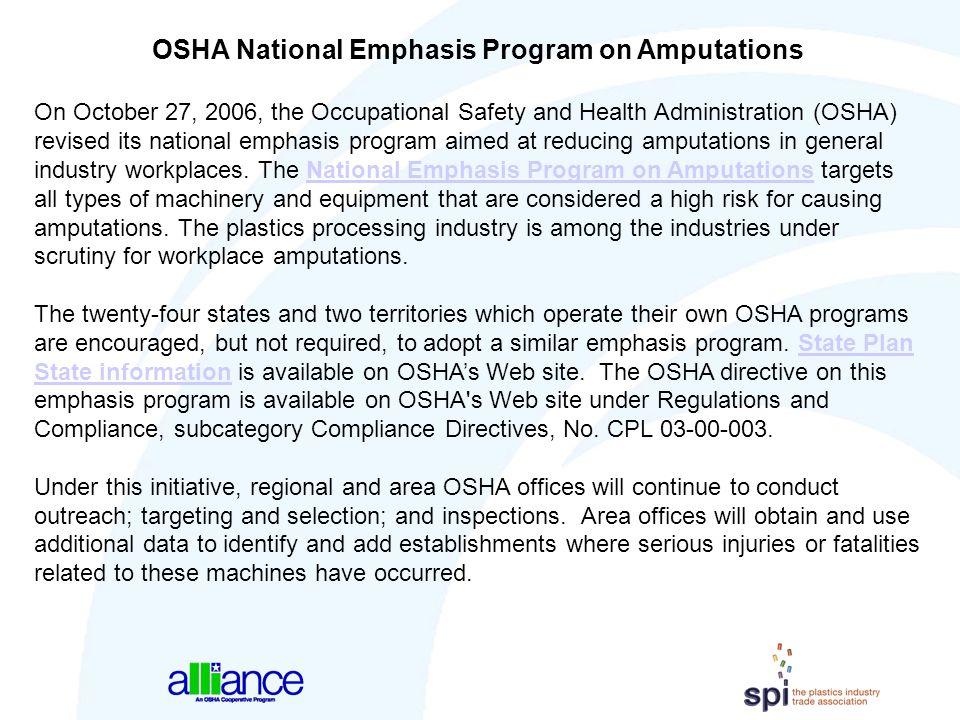 OSHA National Emphasis Program on Amputations
