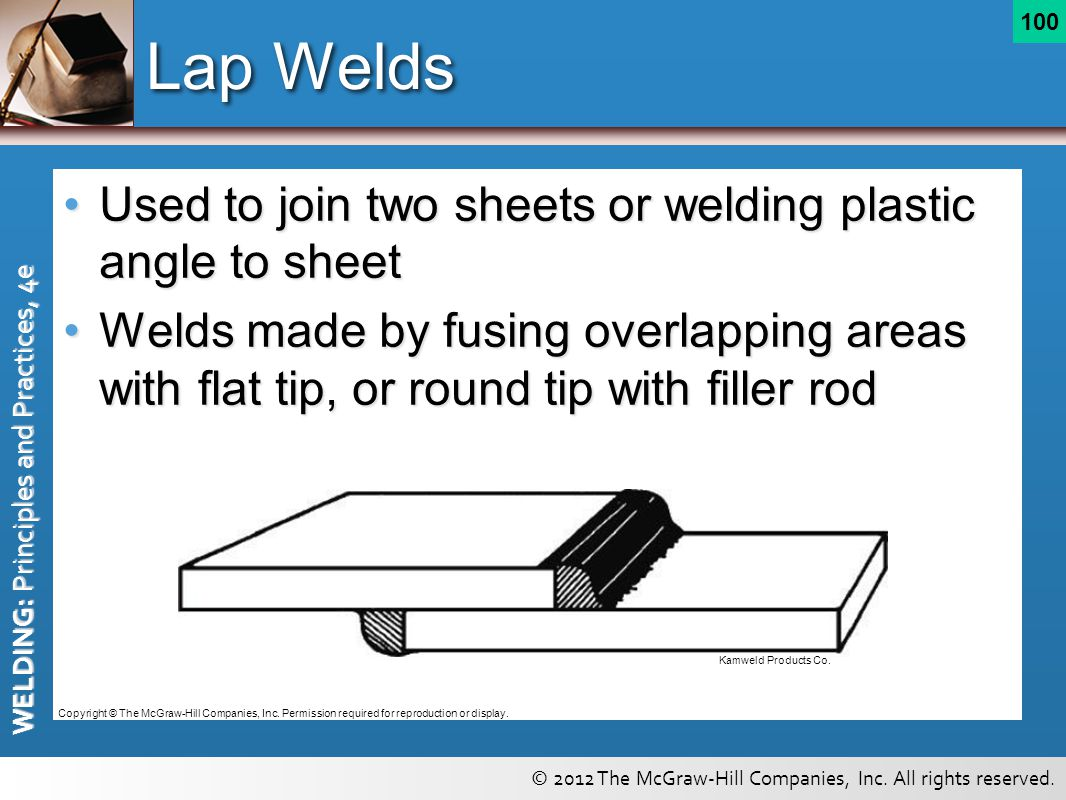 Lap Welds Used to join two sheets or welding plastic angle to sheet