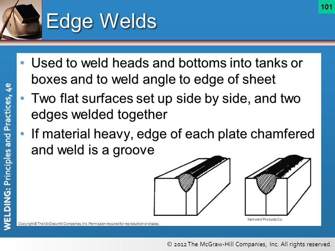 Edge Welds Used to weld heads and bottoms into tanks or boxes and to weld angle to edge of sheet.