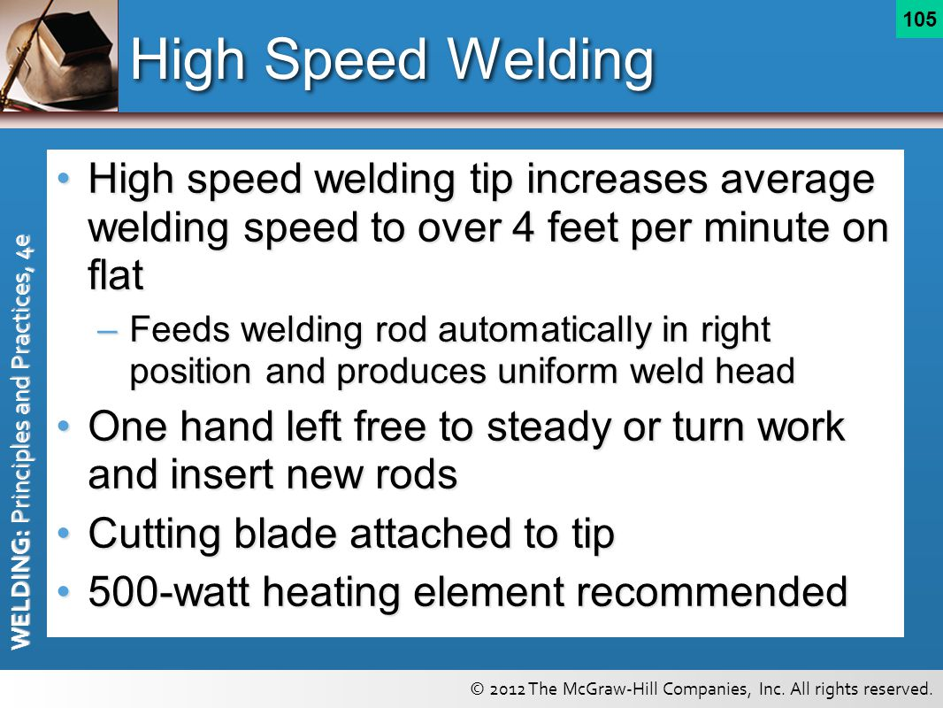 High Speed Welding High speed welding tip increases average welding speed to over 4 feet per minute on flat.