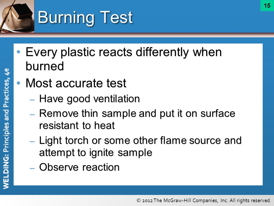 Burning Test Every plastic reacts differently when burned