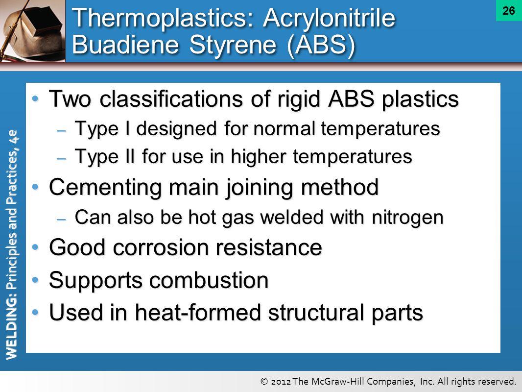 Thermoplastics: Acrylonitrile Buadiene Styrene (ABS)