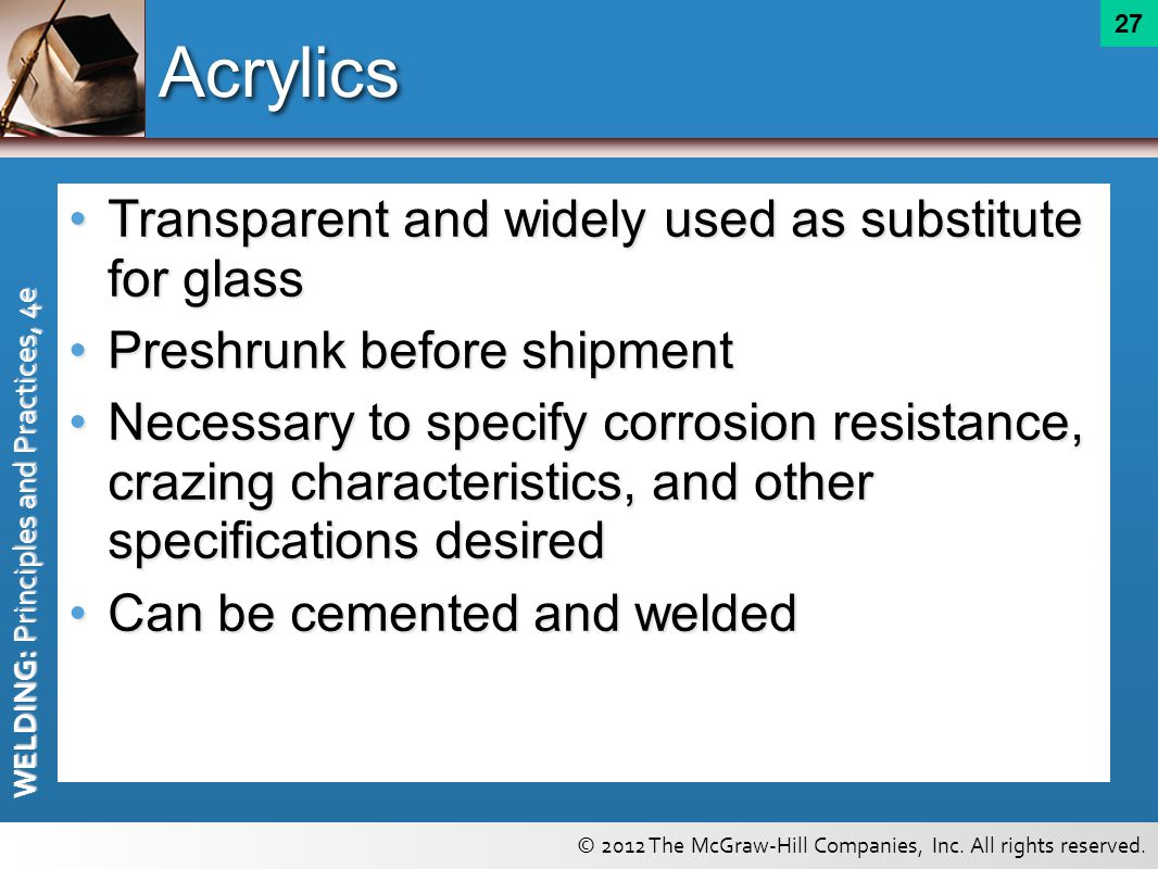 Acrylics Transparent and widely used as substitute for glass