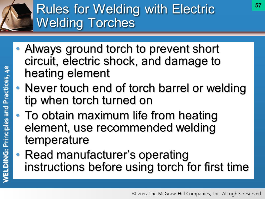 Rules for Welding with Electric Welding Torches