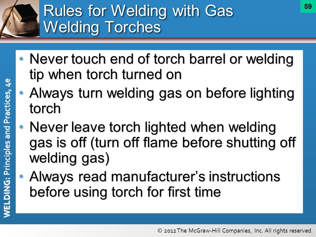 Rules for Welding with Gas Welding Torches
