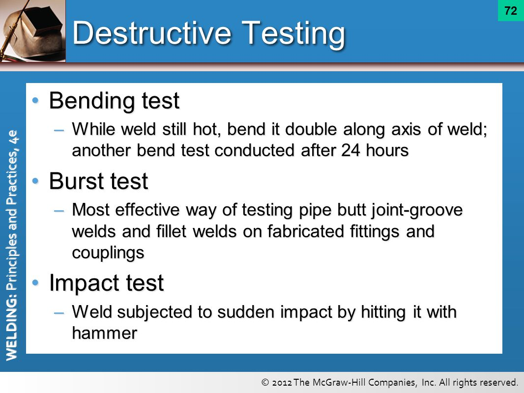 Destructive Testing Bending test Burst test Impact test