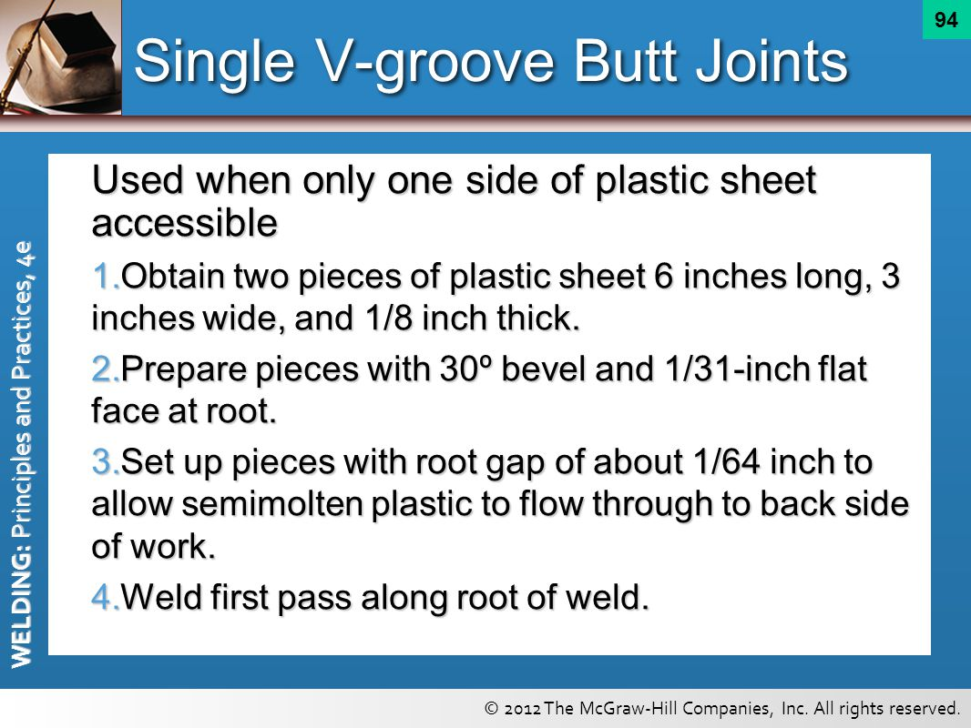 Single V-groove Butt Joints
