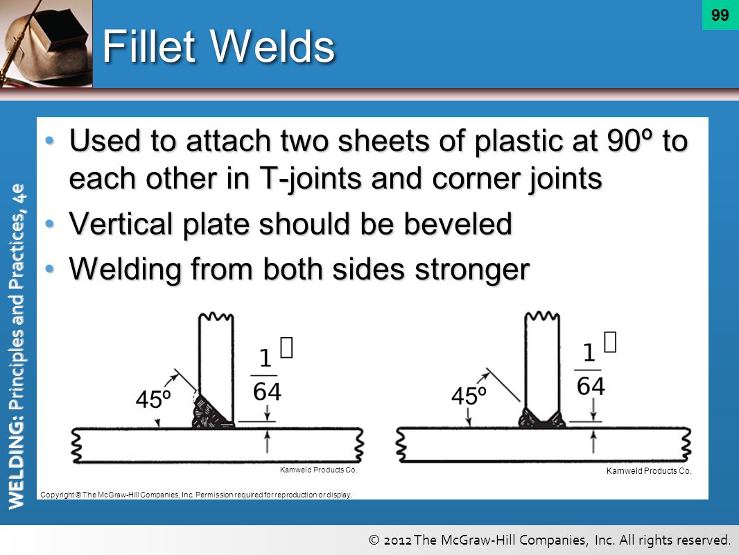Fillet Welds Used to attach two sheets of plastic at 90º to each other in T-joints and corner joints.