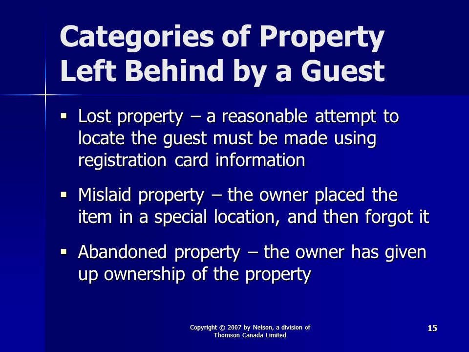 Categories of Property Left Behind by a Guest