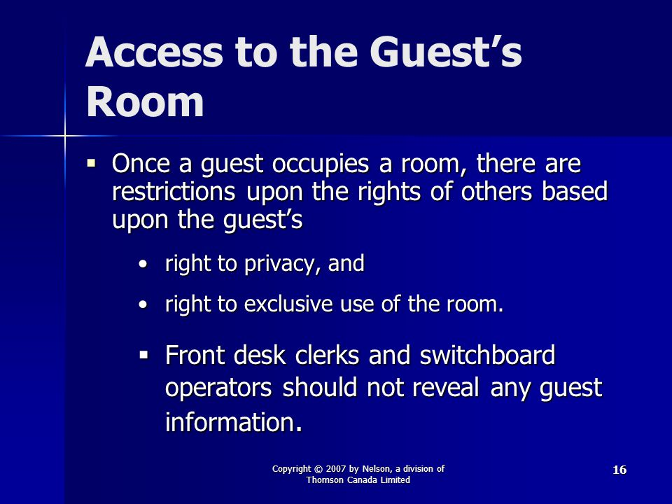 Access to the Guest's Room