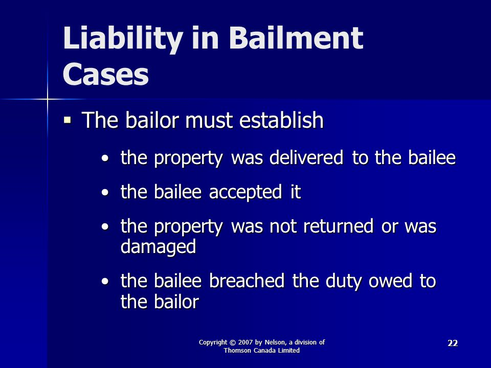 Liability in Bailment Cases