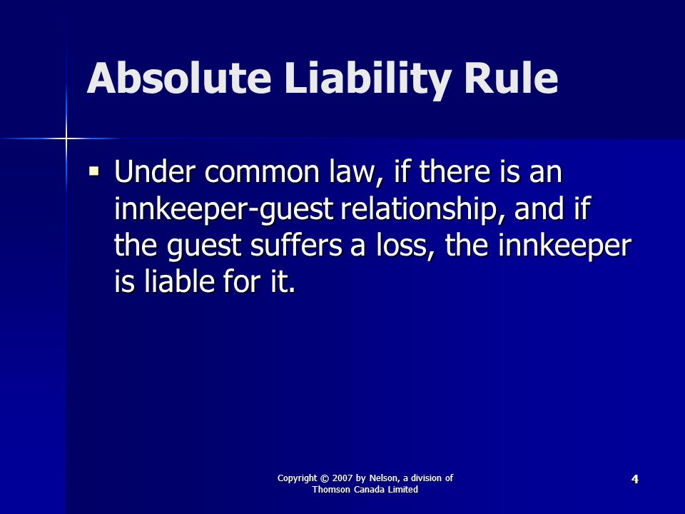 Absolute Liability Rule