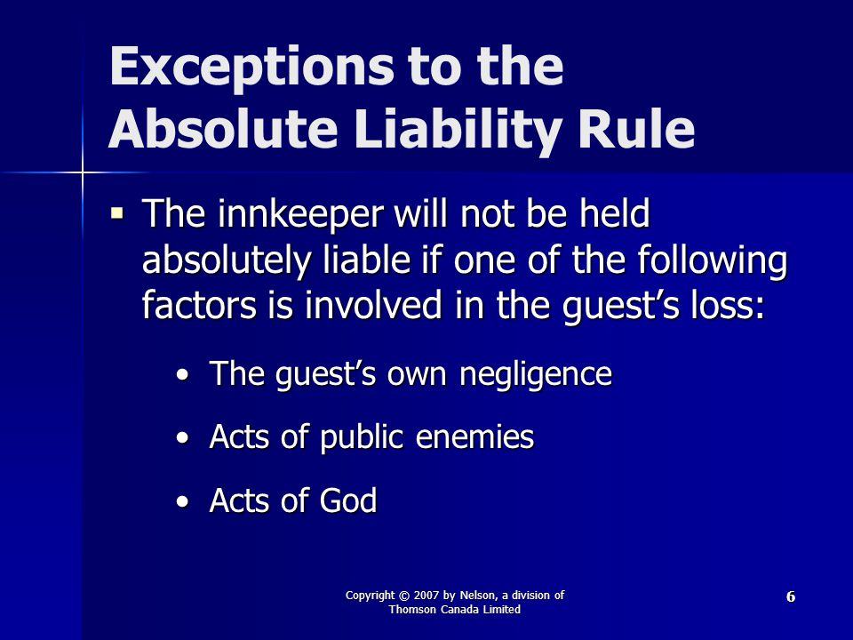 Exceptions to the Absolute Liability Rule