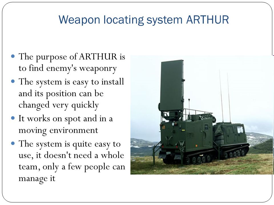 Weapon locating system ARTHUR