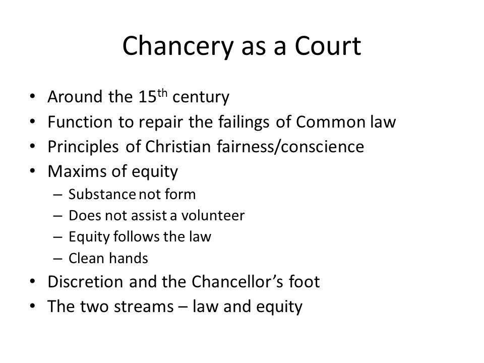 Chancery as a Court Around the 15th century
