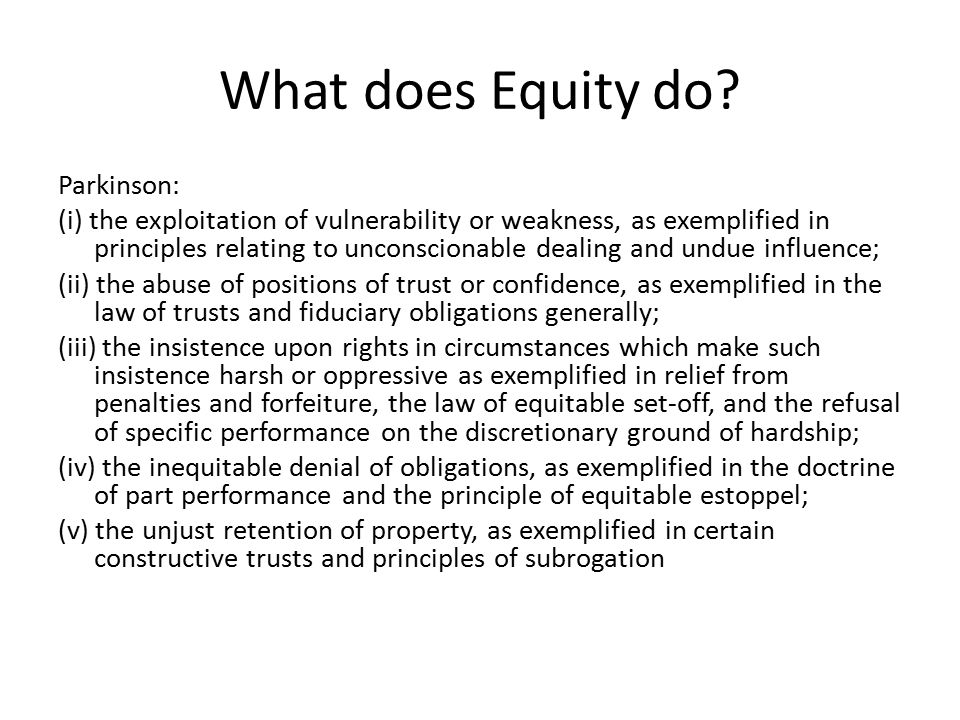 What does Equity do