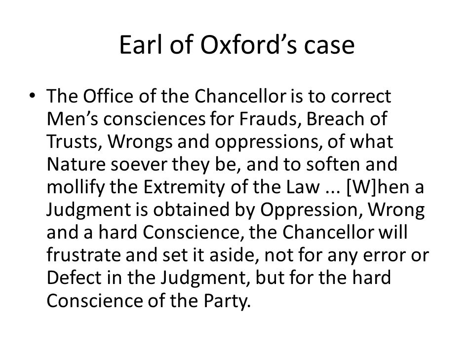 Earl of Oxford's case