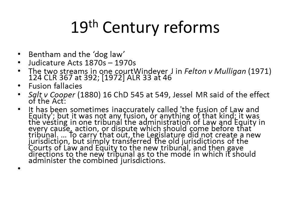 19th Century reforms Bentham and the 'dog law'