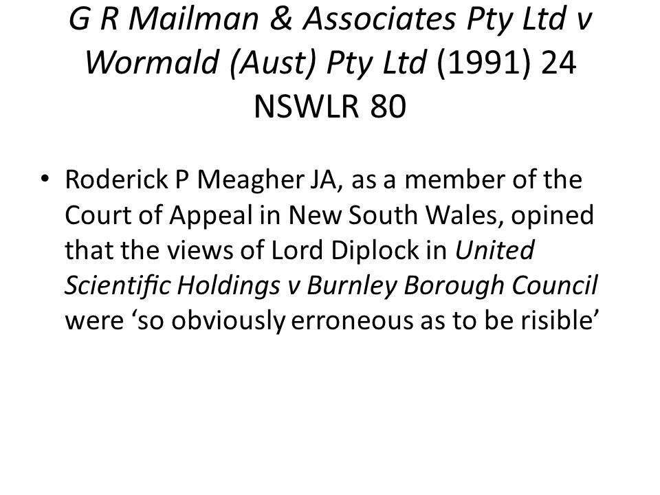 G R Mailman & Associates Pty Ltd v Wormald (Aust) Pty Ltd (1991) 24 NSWLR 80
