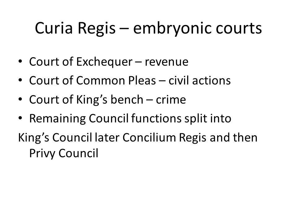 Curia Regis – embryonic courts
