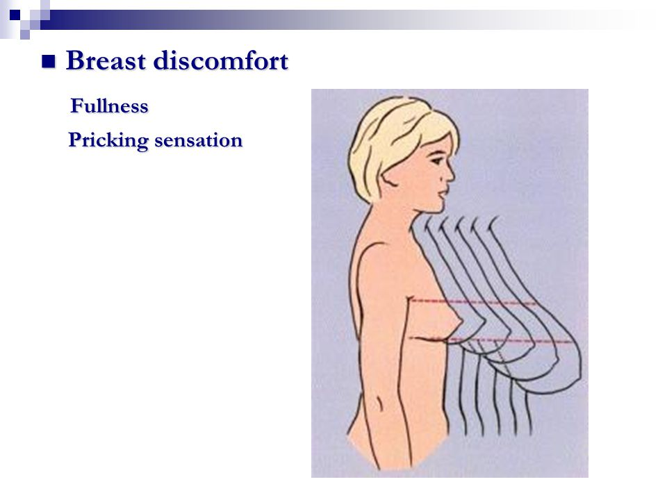 Breast discomfort Fullness Pricking sensation