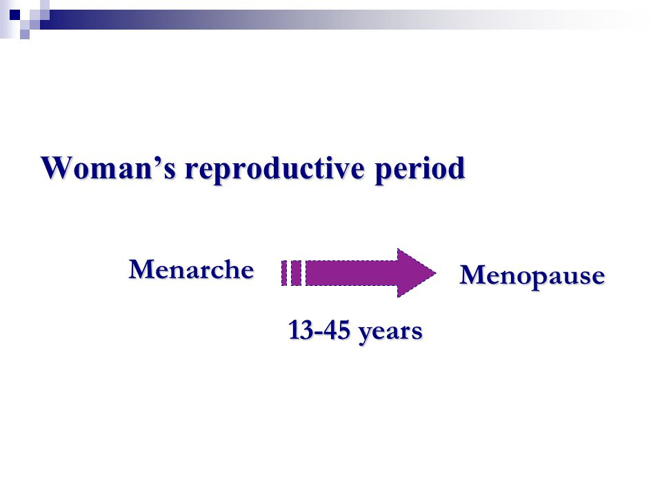 Woman's reproductive period